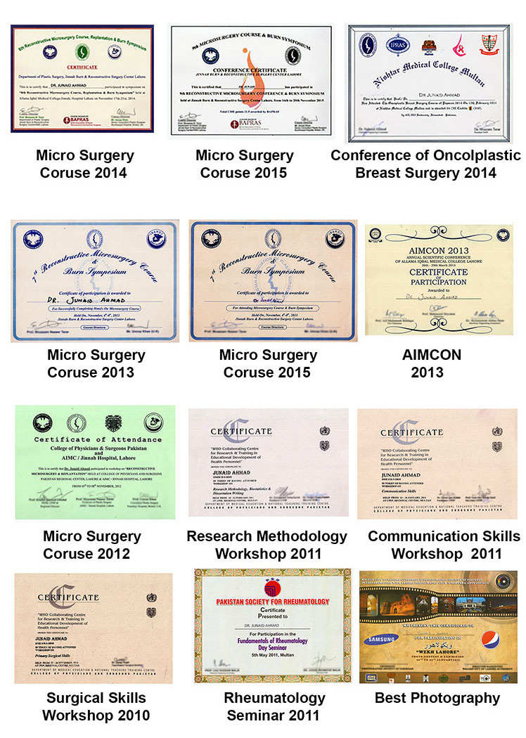 More Certificates of Dr Junaid Plastic Surgeon